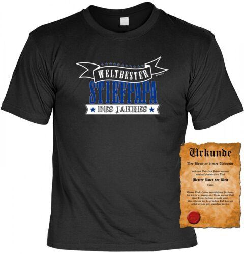 T-Shirt Stiefvater Weltbester Stiefpapa des Jahres Geschenk Vatertag Urkunde