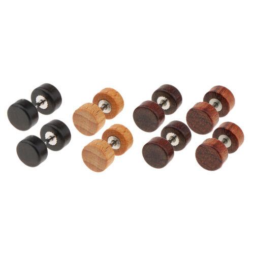 4 Paires vintage en bois naturel boucles d/'oreilles Hommes Femmes Body Jewelry Barbell Ear Stud