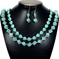Vintage Turquoise Sterling Silver Necklace & Earrings Set Gemstone Jewellery Uk