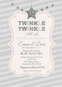 graphic relating to Free Printable Twinkle Twinkle Little Star Baby Shower Invitations titled Information and facts relating to Twinkle Twinkle Minor Star boy or girl shower invites within just silver and crimson