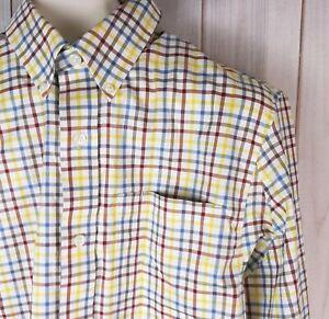 Duluth-Trading-Co-Mens-LS-Button-Down-Shirt-M-Trim-Fit-Plaid-100-Cotton-Red-Blue