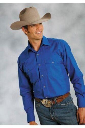 Roper Mens BLUE L//S Poplin Western Show Dress Rodeo Ranch Shirt M L XL 2X 3X