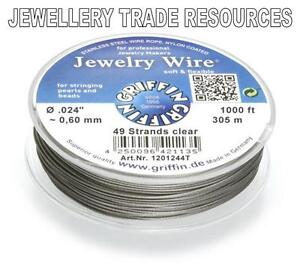 GRIFFIN-NYLON-COATED-STEEL-BEADING-amp-PEARL-WIRE-024-034-0-60mm-1000-FT-49-STRAND