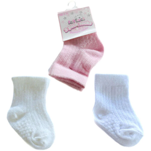 3 PAIRS GIRLS RIBBED SOCKS PINK//WHITE//CREAM 0-3 3-6 6-12 MTHS SOFT TOUCH