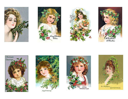 Victorian Girls Christmas Holly Cotton Miniature Blocks FrEE ShiPPinG WoRld WiDE