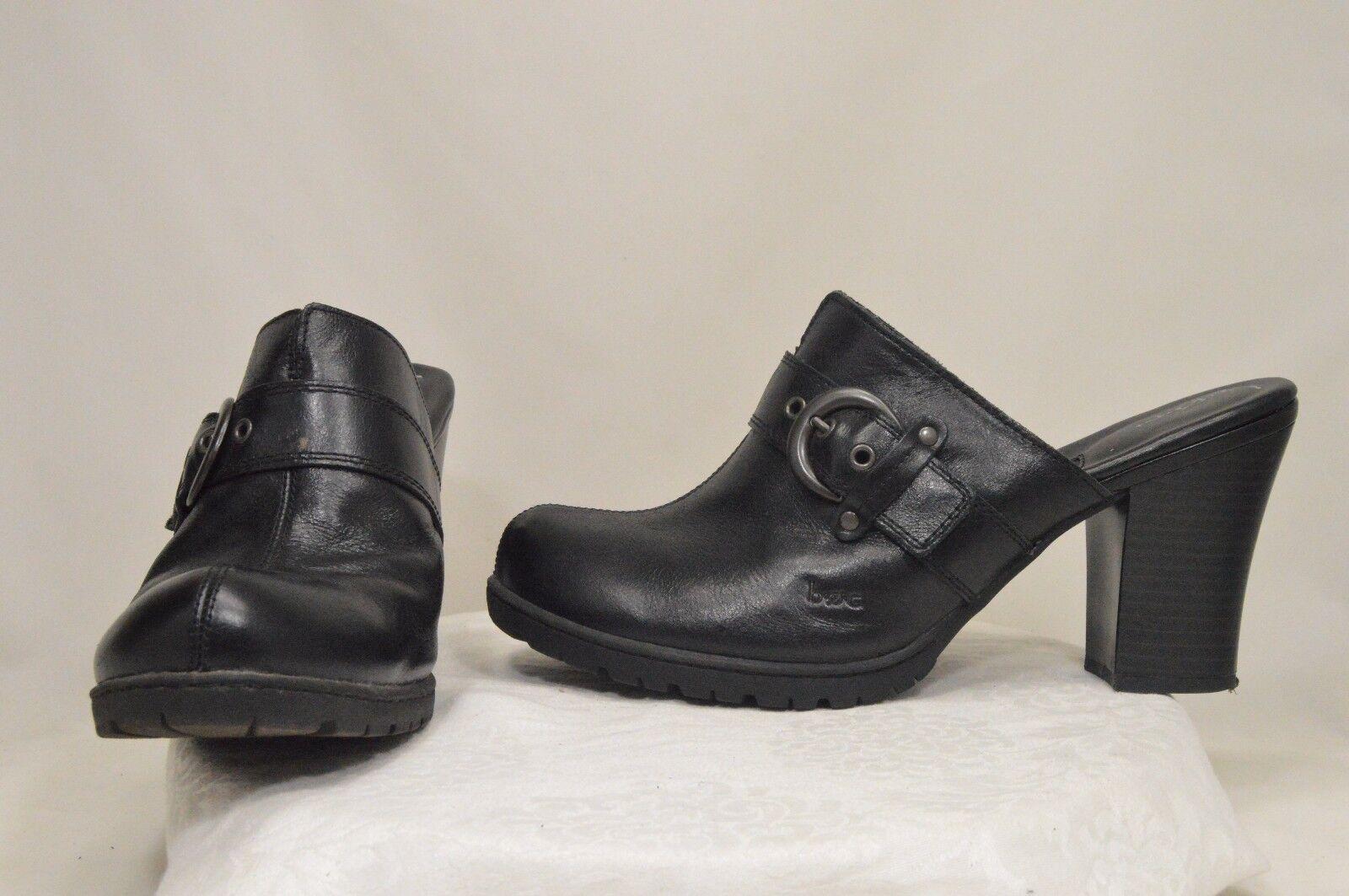 61454222d08 Black Leather Fashion Casual Dress Comfort Work Slide Mule Heels ...