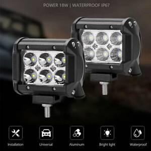 2X-18W-LED-travail-lumiere-Offroad-Spot-brouillard-voiture-camion-lampe-ATV-SUV
