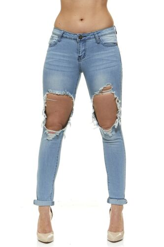 VIP Ripped Distressed or Destroyed Frayed Hem Skinny Slim Fit Stretch Jeans