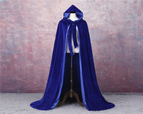 2019 Velvet  Hooded Cloak Long Cape with Hood Masquerade Halloween Costume Capes