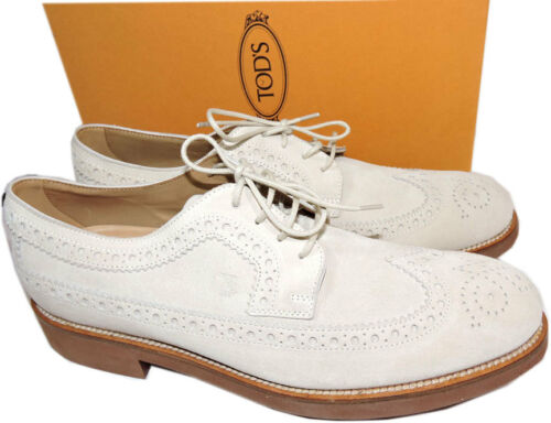 Tod's Ivory Brogue Wingtip Oxford Suede Shoe Loafer Moccasins Shoes 8.5Uk9.5 Us