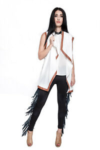 85c39095e3cde Image is loading leather-fringe-leggings-pants-with-genuine-leather-in-