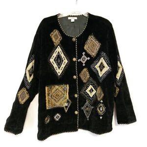 Dressbarn-Woman-Plus-Size-2X-Jacket-Velour-Patchwork-Applique-Button-Up-Lined