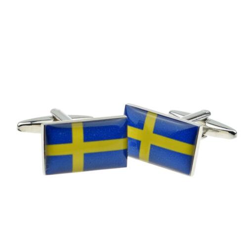Sweden Swedish Flag Cufflinks Presented in a Cufflink Box X2BOCF046