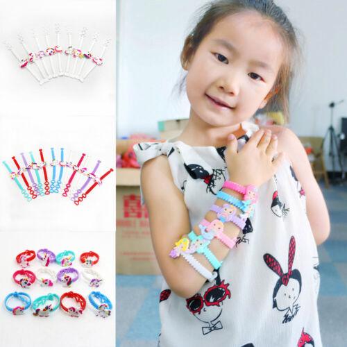 2//10x Kids Soft Unicorn Bracelet Bracelet Bracelet Jonc en forme de cœur en enfant Parti Faveurs Cadeau