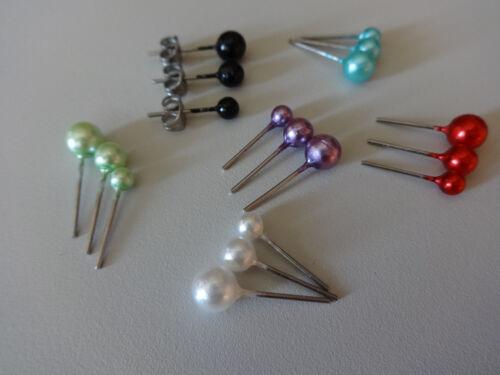1 SET  3 x PEARL Perlen EAR Ohrstecker ~ 4-6 mm Stahl mit Butterfly Verschluss