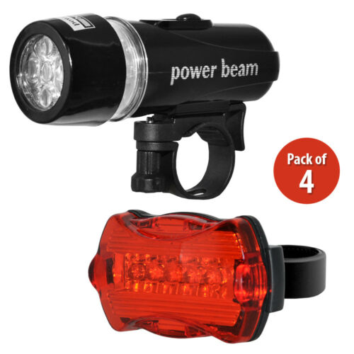 Pack of 4 Waterproof 5 LED Lamp Bike Bicycle Head Light Rear Safety Flashlight