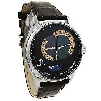Mira Classic Merveille De L'Espace Dual Retrograde Watch Mother of Pearl M102SBK