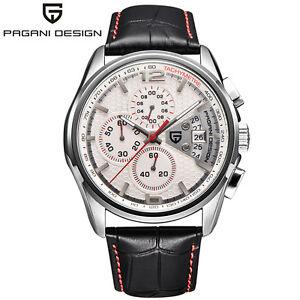 PAGANI-DESIGN-Chronograph-Waterproof-Leather-Men-039-s-Quartz-Military-Wrist-Watch