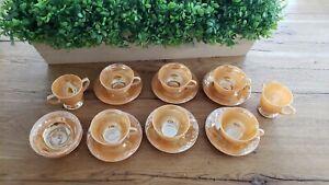 Fire King Oven Ware Peach Lustre Creamer Sugar Bowl Set Laurel Leaf Iridescent