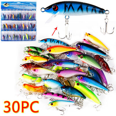 Details about  /10Pcs Kinds of Large Fishing Lures Hooks Minnow Crank Durable Baits Fishing Kit
