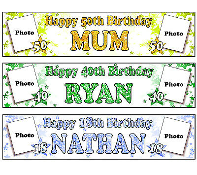 2 Personalised Photo banners Christening birthday party name age black pink 1C