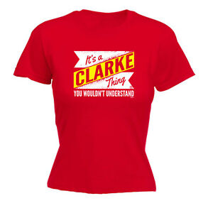 Drôle Nouveauté Tops T-shirt Femme Tee Tshirt-clarke V2 Nom Chose-afficher Le Titre D'origine