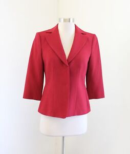 NWT-Ann-Taylor-Solid-Red-Wool-Blend-3-4-Sleeve-Blazer-Jacket-Size-0
