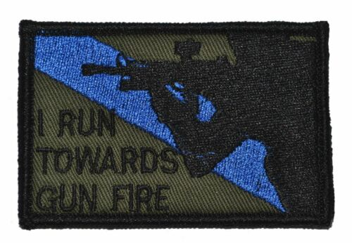 I Run Towards Gun Fire 2x3 Military//Morale Funny Hat Patch with Fastener