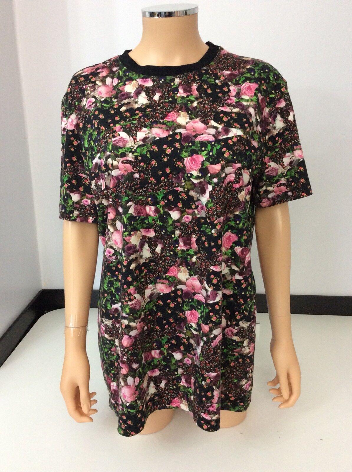 Givenchy t shirt Top Floral Größe S Small Short Sleeve Flowers Over Größe