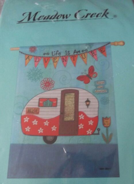 "Banner Flag JUST GO Life Adventure camper 29/"" x 43/"" $39.99 Meadow Creek Lg"