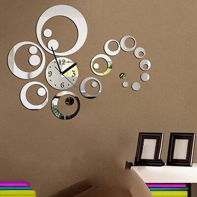 23 Pcs/Set DTY Home Decor Mirror Wall Stickers Clock Living Room Wall Clock F5