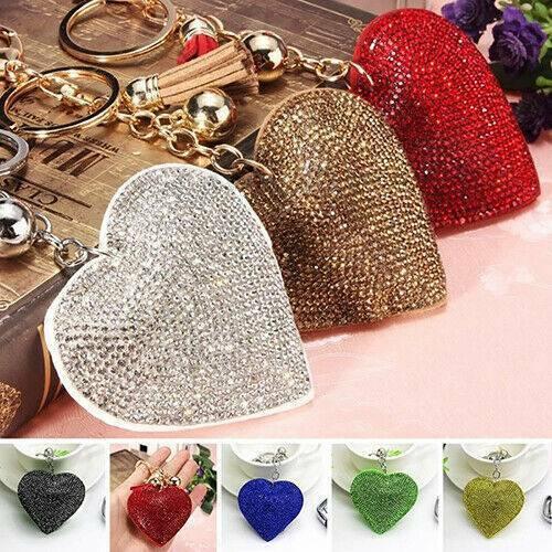 Love Heart Keychain with Tassel Rhinestone Key Holder Keyring Charm Pendant Gift