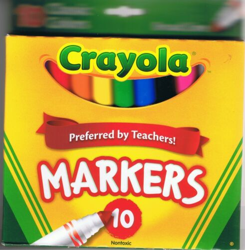CRAYOLA COLORS  CLASSIC COLORED MARKERS FINE TIP BROAD LINE SHARPENED PENCILS