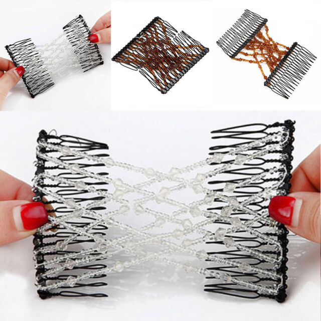 BG_ Magic Hair Stretchable Hairpin Slide Double Beads Women Stretchy Hair Comb P