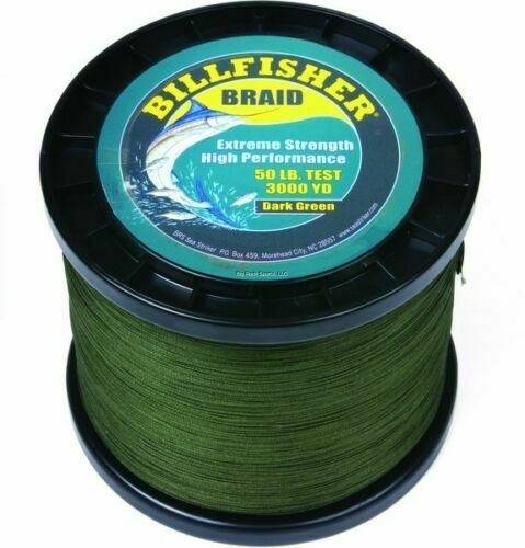 BILLFISHER BRAIDED LINE 50LB 3000YD DARK GREEN BULK