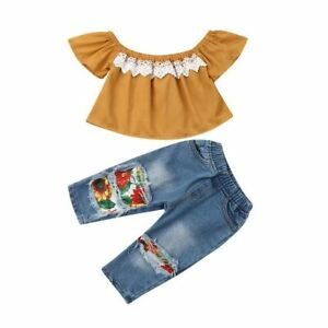 Ropa Para Bebes Ninas Hembra Conjuntos De Nina Camisas Pantalones De Moda Jeans Ebay