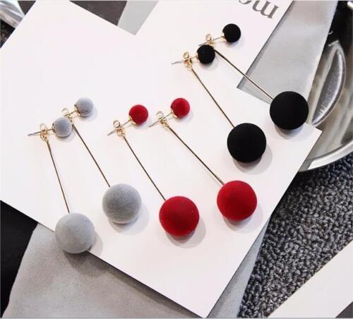Fashion Pompom Studs Ball Cute Enamel Long Tassel Drop Earrings Women Rhinestone