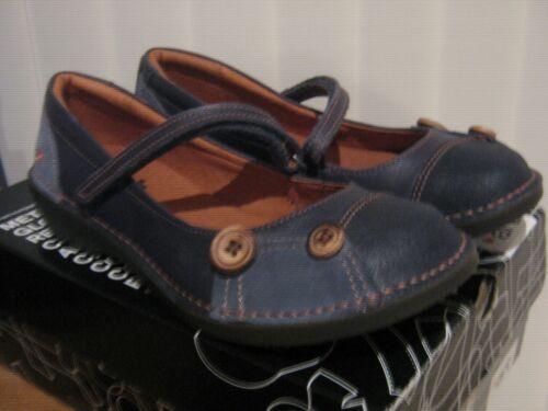 ART Blue due tonalità di pelle Dolly Scarpe Cinturino Touch /& pulsante dettaglio arancione cuciture