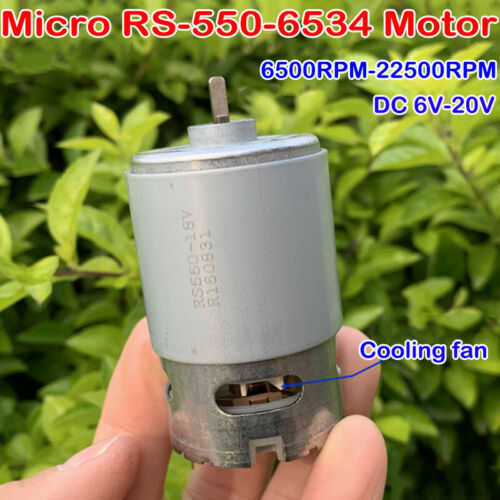 DC 6V-20V 22500RPM High Speed Micro 550 Motor D Shaft With Cooling Fan DIY Drill