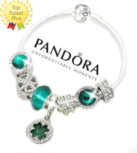 Pandora Bracelet Silver Green Luck Of The Irish St Pats With European Charms Ebay