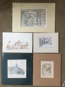 Collection-Of-Alan-Teague-Pen-And-Ink-Drawings-Pictures-Thames-Barges-Norman
