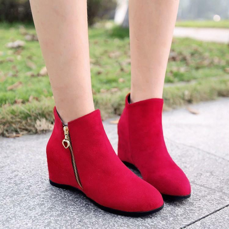 Women's Round Toe zip faux suede Hidden heel ankle boots Casual shoes plus size