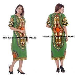 Details about Women Traditional African Print Dashiki Dress Short Sleeve  Party Tunic Plus Size