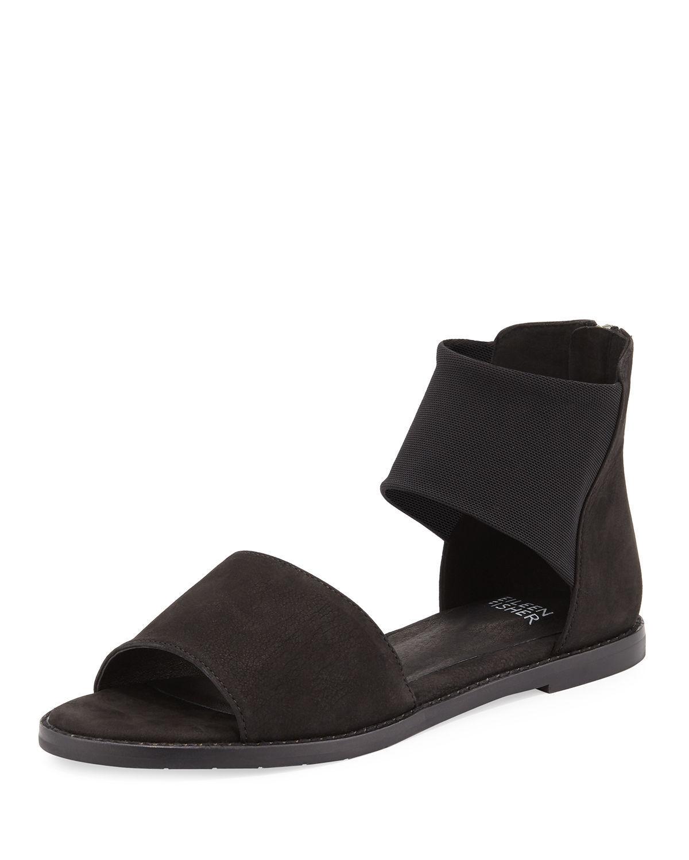 Eileen Fisher Sign Flats Sandals Tumbled Nubuck Leather nero Sz.8.5