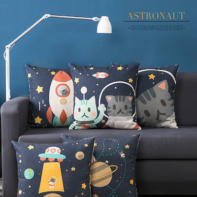 New Universe Rocket Starry Sky Cats Square Linen Pillow Case Cushion Cover 18""