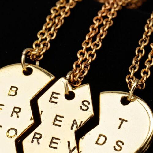New Pieces Broken Heart Pendant Necklace Chic Best Friends Forever Necklace D/_N