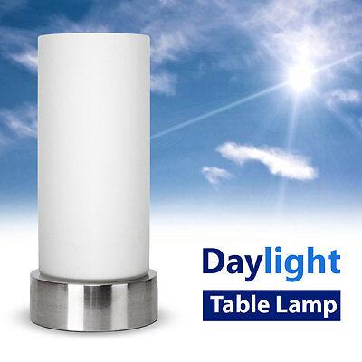 Energy Saving Daylight Chrome & Glass SAD Light Sunlight Therapy Table Lamp NEW