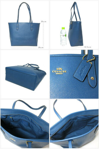 Tote F58846 Sua09 Crossgrain En Azul Coach Zip City Brillante Top Cuero twInHBFq
