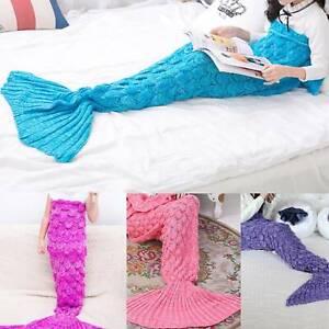 Mermaid-Tail-Crocheted-Sofa-Blanket-Carpet-Knit-Handmade-Children-Kid-UK
