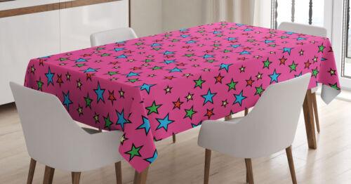 Bunt Tischdecke Pink Retro Sterne Waschbar